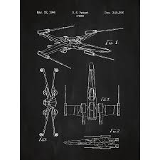 star wars x wing 2 blueprint graphic art poster in chalkboard