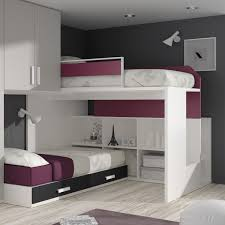 bedroom white grey modern stained solid wood bunk bed ceiling