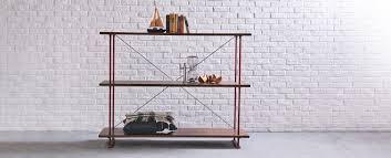 belmont tall wide bookshelf mahogany shelves u0026 iron frame