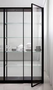 contemporary bookcase oak metal glass ex libris porro