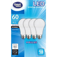 60w led light bulb great value led light bulbs 9w 60w equivalent daylight 4 count