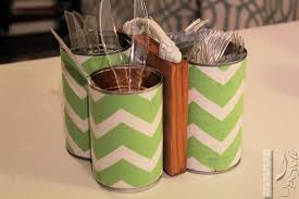 furniture green and white chevron motif on utensil caddy for