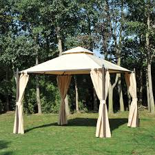 Outdoor Gazebo With Curtains Outsunny 10 X 10 Steel Outdoor Garden Gazebo With Curtains