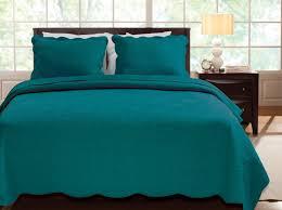 Ocean Bedspread Solid Dark Teal Blue Quilt Set Twin Scalloped Cotton Elegant Bedspread