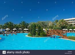 swimming pool of the sani beach hotel sani beach kassandra stock
