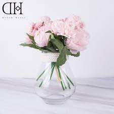 peony arrangement 2018 dh peony dahlia bouquet glass vase arrangement for home