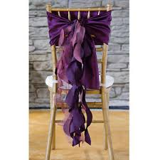 Purple Chair Sashes Plum Taffeta Curly Willow Wedding Chair Sash Ebay