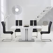 Gloss White Dining Table And Chairs Vegas High Gloss White Dining Table With 6 Milan Black Chairs