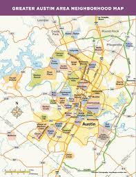 Van Texas Map Greater Austin Area Neighborhood Map More Maps Pinterest