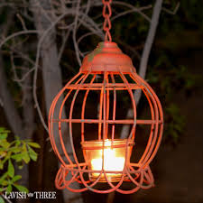rustic vintage garden metal lantern with chain and tea light