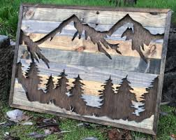 wood mountain wall five rustic wood mountains wall medium