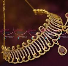 beautiful necklace online images N6835 beautiful gold finish cz ruby emerald choker necklace buy JPG