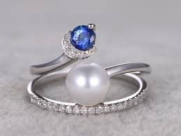 Pearl Wedding Rings by Pearl Jewelry Pearl And Diamond Engagement Ring Bbbgem