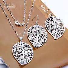 wholesale jewelry necklace images 2018 wholesale jewelry set 925 silver fancy leaf pendant earrings jpg