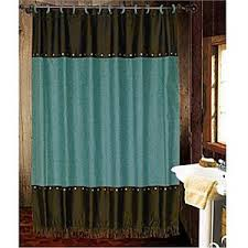 Turquoise Shower Curtains Cheyenne Faux Tooled Leather And Fringe Shower Curtain Turquoise