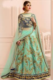 bridal wear silk bridal wear lehenga choli in turquoise colour