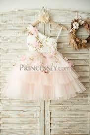 one shoulder floral organza pink tulle cupcake wedding flower