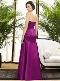 dropped fuchsia zipper strapless floor length bridesmaid dress