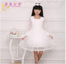 white princess girls dress chiffon lace dresses for little girls