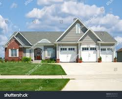 modern brick vinyl siding house suburbs stock photo 89636416