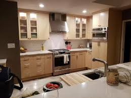 kitchen with light maple cabinets contemporary maple cabinetry with quartz counters