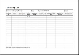 inventory list example 12 inventory list templates free sample