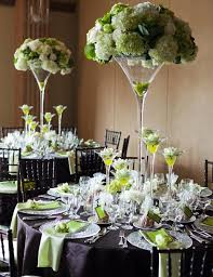 Tall Table Centerpieces by Martini Shaped Vases Make A Bold Statement In The Table Decor