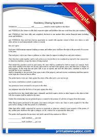 free printable residence sharing agreement simple u0026 past form
