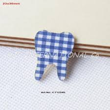 100pcs lot 30mm baby shower tooth ornaments blue checked fabric