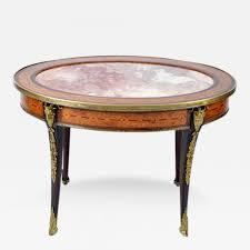 french louis xvi style oval marble top u0026 inlaid coffee table with