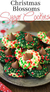 christmas blossoms sugar cookies with hershey kiss holidays with