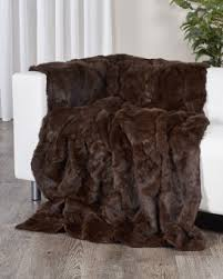 genuine rabbit fur blanket fur throw in black fursource com