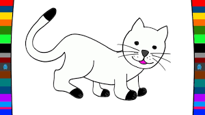 learn animals how to draw a cat animal coloring pages youtube