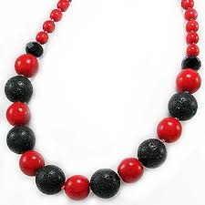 beaded coral necklace images Stylish red coral and black lava beaded necklace 18 jpg