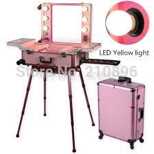 makeup luggage with lights led yellow light pink professional aluminum trolley makeup case with