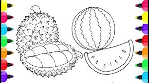 durian u0026 watermelon coloring pages learning to draw and coloring