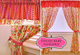 Nursery Valance Curtains Stylish Baby Nursery Flowery Curtains Striped Valance Sew4home