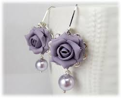 purple earrings lavender purple pearl earrings