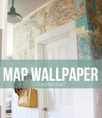 map wrapping paper roll my diy map wallpaper small hallway the inspired room