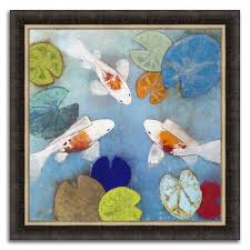 koi pond framed painting print in acrylic finish