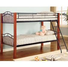 coaster 2248 haskell metal and wood casual twin over twin bunk bed