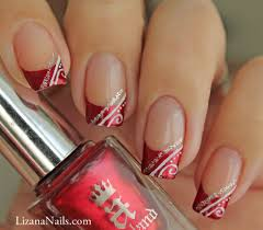nail art red french façon gel nail art des francaises