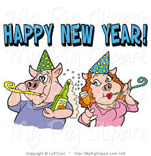 new year noisemakers swine clipart of a pig in party hats chagne