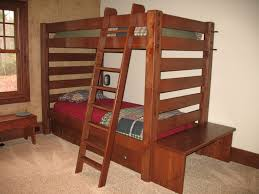 Pull Out Bunk Bed Bedroom Rustic Chocolate Brown Stained Wooden Bunk Bed With
