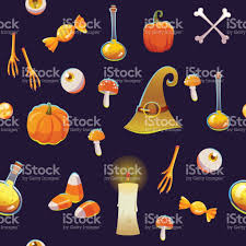 seamless halloween pattern funny background with scary objects