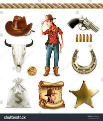 cowboy cartoon character objects western adventure stock vector