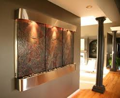 Copper Walls Copper Fountain Mounted In The Walls With Lights Soothing Indoor