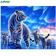 3d diy mosaic painting colorful white tiger of living room