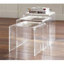 nest of coffee tables modern amazon com homcom 3pc acrylic stackable nesting end side tables