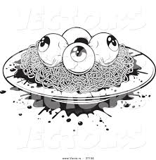 halloween graphic art vector of a plate of spaghetti white eyeballs black and white